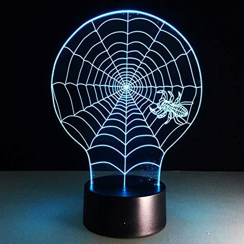 3D-Nachtlicht, Blinkende Änderung Schreibtisch Tischlampe Kinder-Netzteil Halloween Illusionnight Light7 Farbwechsel Spider Webbedroom Dekoration (Spider Dekorationen Für Halloween)
