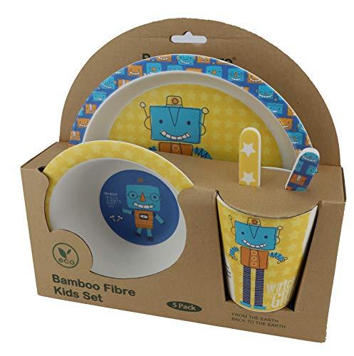 AMTNATURE Vajilla Infantil de Bambu. Set de 5 piezas sin bpa ,ecológico y biodegradable. Para bebes y niños. Apto para lavavajillas.