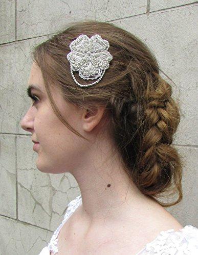 Art Deco Fleur Rose et chaînes Peigne à cheveux de mariée avec strass style vintage années 1920 4 AP * * * * * * * * exclusivement vendu par – Beauté * * * * * * * *