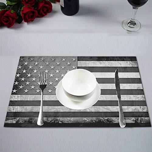 Soefipok Grunge Flagge der USA Metall amerikanische Flagge Stoff Tischsets Fleck beständig Tischset für Esstisch langlebig waschbar Küche Tischsets, 6er-Set