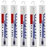 Set di 5 termometri per frigorifero, refrigeratori, ghiacciaia / Analogico, senza Mercurio con gancio / Made in Germany + / - 40 °C