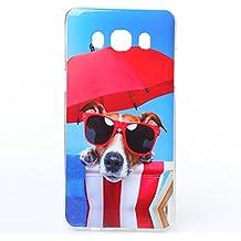 Voguecase® Para Samsung Galaxy J5 2016, TPU Funda de Silicona de Gel Carcasa Tapa Case Cover (Gafas de perro 02) + Gratis aguja de la pantalla stylus universales