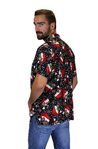 King Kameha Original Funky Hawaiihemd   Herren   XS - 6XL   Kurzarm   Front-Tasche   Hawaii-Print   Weihnachten Santa Heiligabend   Verschiedene Designs FlyingHatsBlack