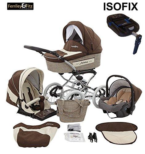 Ferriley & Fitz Avinion Nostalgie Kinderwagen Komplettset Safety-Set (Autositz & ISOFIX Basis, Regenschutz, Moskitonetz) 02 Schoko Muffin