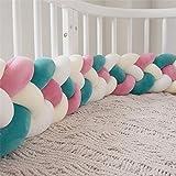 Wanguo Oreiller de lit de bébé de Tresse de Pare-Chocs Baby Head Guard Bumper Coussin de Noeud de Tresse pour lit de bébé (Color : W-Red+m-whi+whi+DB-Green, Size : 220CM)