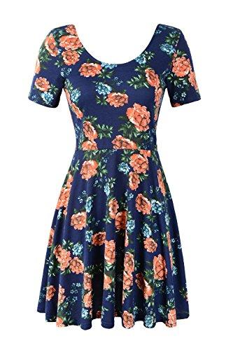 Jc.Kube Damen Kleid Slim-Fit armlos mit Blumendruck Blueflower
