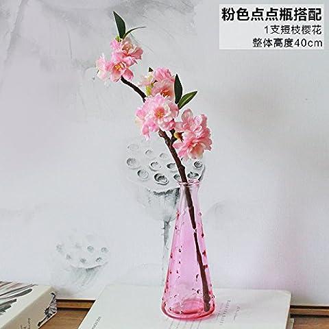 Maivas vase Frais jardin fleurs de simulation - Verre - décoration chambre à coucher simple home,Bouteille rose+1 crampons Cherry Blossoms