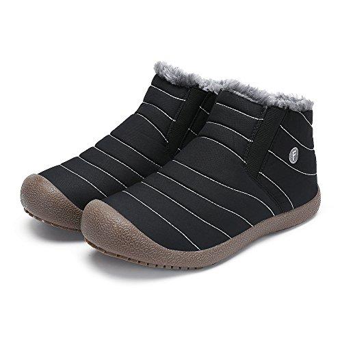 SAGUARO Herren Damen Winter Boots Outdoor Warm Gefüttert Schneestiefel Winterstiefel Schwarz CC