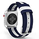 MoKo Correa para Apple Watch 42mm - Adjustable Reemplazo Band Deportiva con Fino Tejido de Nilón para Apple Watch 42mm SERIES 1 / 2 / 3, 2015 & 2016 & 2017& Nike+ Todos los modelo, Azul&Blanco