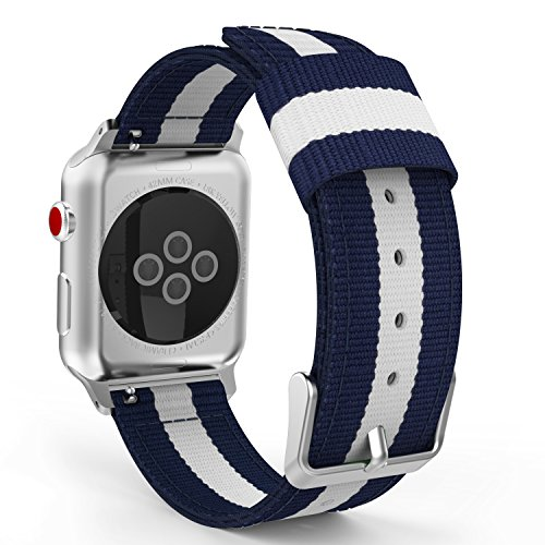 MoKo Armband Kompatibel für Apple Watch Series 4/3 / 2/1 42mm, Nylon Strick Replacement Uhrenarmband Sportarmband Band Ersatzband mit Schließe, Blau/Weiß (Apple Link Watch-armband)