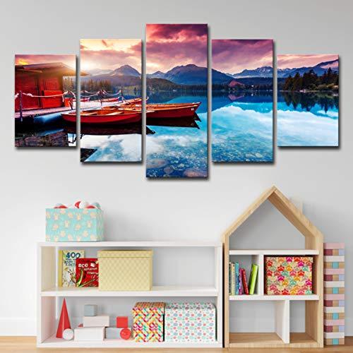 Wieco Art 5 Banhu Holiday Boat Naturlandschaft Ölgemälde Wandkunst Dekoration Bilder Vlies Leinwandbild Kunstdruck Modern Wandbilder Wanddekoration Design,A,L30×75cm/(12×30in)