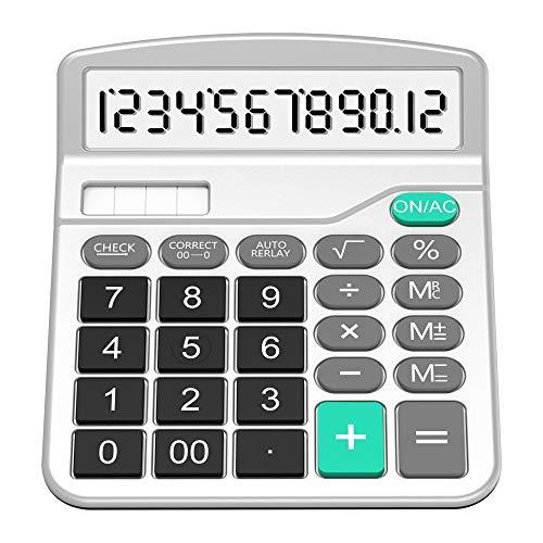 Taschenrechner, Splaks 12-stellig Standard Function Tischrechner Bürorechner Rechenmaschine Solar- und AA Batterie betrieb Calculator mit großem Display Silver (Solar Oberfläche Licht)