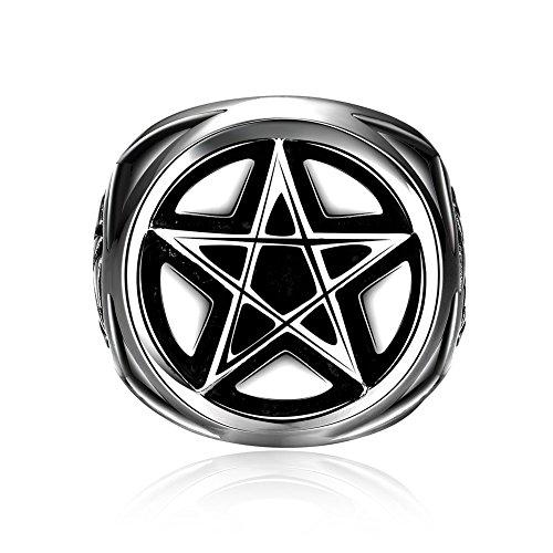 (iLove EU Edelstahl Ring Bandring Silber Schwarz Pentagramm Fünfzackigen Stern Retro Herren - Größe 67)