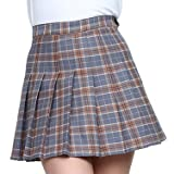 Smilice Women High Waist Pleated Plaid Skirts with Inner Shorts School Mini Skirts for Fashion Girls