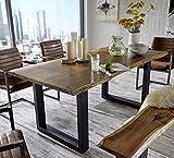 SAM® Massivholz Esszimmertisch Quentin aus Akazie 180 cm echte Baumkante naturfarben geölt Lieferung erfolgt per Spedition