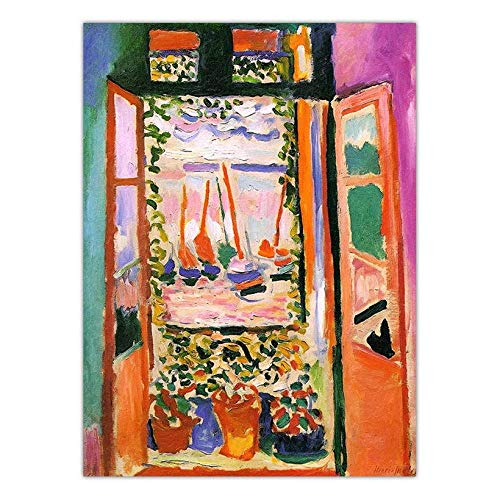 RTCKF Kunst Micro-Jet-Druck Kern Leinwand Gemälde Henry Matisse offenes Fenster Replik ohne Rahmen J 60cmx90cm