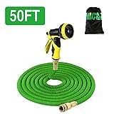 Flexibler Gartenschlauch, Messinginstallationen Stärkster Schlauch mit 9 Spray-Muster, einziehbar, flexibel, nie Kink, leichte tragbare Wasserschläuche Gebrauch für Gartenarbeit, Druckwäsche (50FT/15M)