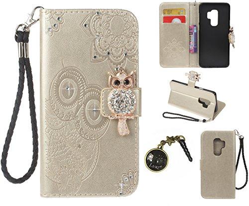 Preisvergleich Produktbild Galaxy S9 Plus S9+ Case Leder Tasche Case Hülle im Bookstyle mit Standfunktion Kartenfächer für (Samsung Galaxy S9 Plus / S9+ 6,2 Zoll 2018 Veröffentlicht) Hülle +Staubstecker (10)