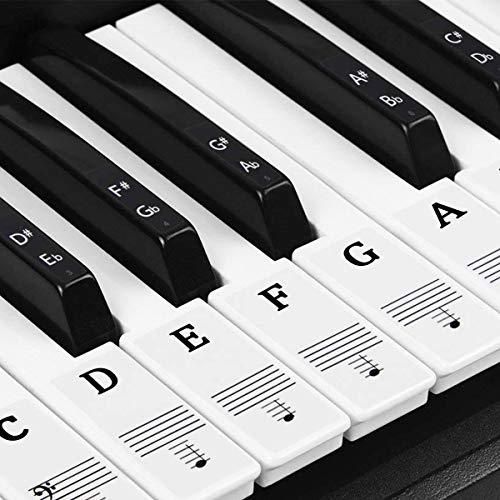 Natuce Klavier Aufkleber für 37/49/54/61/88 Tasten, Klaviertasten Aufkleber, Klavier Keyboard Noten Aufkleber, Transparent Entfernbar, Premium Piano Keyboard Aufkleber Komplettsatz (Schwarz und weiß)