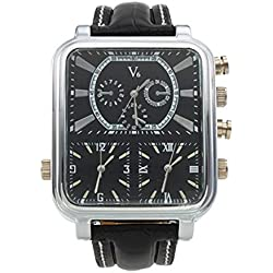 Hot V6 original Brand Black Leather Strap Unisex Quartz Wrist Watch Square Silver Square Case 3 Working Dials