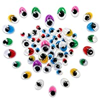 TOAOB Oval Mixed color and size Googly Wiggle Eyes with Eyelashes for DIY Scrapbooking Crafts Toy Accessories 1028pcs