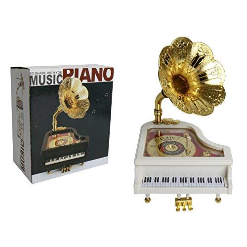 Musikbox mit Spieluhr Piano weiß mit Grammophon Musik-Für Elise Walzenspielwerk zum Aufziehen