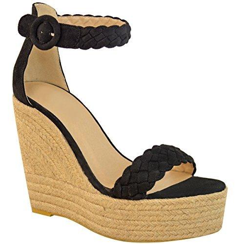 Sandales compensées - espadrilles à talons hauts/brides - été/soirée - femme Imitation suède noir/corde/rétro