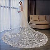 DROHE-Q Veli da Sposa Lungo Pettine Fiore Sposa Nozze Matrimonio Accessorio Affascinante Elegante Bianco Crema 3.5 * 3m