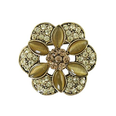 Floral Passions Gold Jonquil and Topaz Scarf Clip With Gift Box