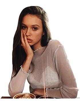 Yiiquan Mujer Blusa Camiseta Casual Transparente Verano Playa Mangas Largas Tops