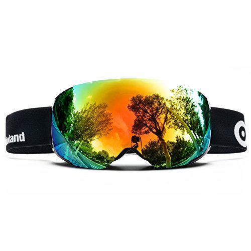 ODOLAND Ski Goggles with Magnetic Detachable Lens Design � for Adult Man & Woman - Mirror Coating UV400 Protection and Anti-Fog Lens� Double Spherical Lens Comfortable for Sunny and Cloudy Days