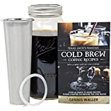 Craft Connections Cold Brew Coffee Maker Large 64 Oz. Bonus: 130pg 60+ Recipes And Instruction Book! Quality Ball Wide Mouth Mason Jar Stainless Filter Basket. Makes Coffee, Infused Water Tea!