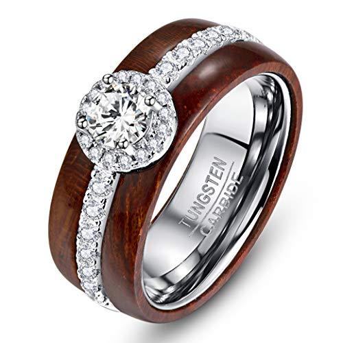 Nuncad Damen Mädchen Frauen Ring aus Wolfram und Sterling Silber 925 mit Zirkonia in Rundschliff und Koaholz für Hochzeit Verlobung Valentinstag Größe 62 (22)