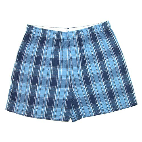 Boxercraft Herren Baumwolle Flanell Plaid Boxer Sleep Shorts Gr. Medium, Columbia Blue - Boxercraft Plaid Flanell-hose