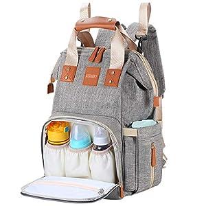 AISPARKY Baby Wickelrucksack mit 2 Pcs Kinderwagen-haken, Multifunktionale Wasserdichte Wickeltasche mit große Kapazität und warme Tasche, Babytasche für Reisem (Schwarz)