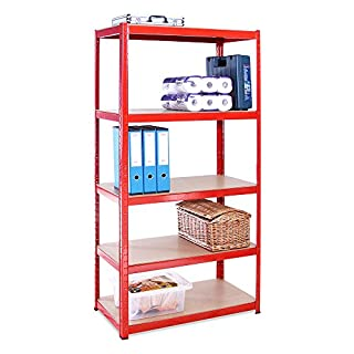 Garage Shelving Units: 180cm x 90cm x 45cm | Heavy Duty Racking Shelves for Storage - 1 Bay, Red 5 Tier (265KG Per Shelf), 1325KG Capacity | For Workshop, Shed, Office | 5 Year Warranty
