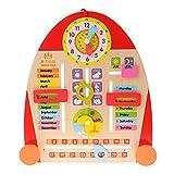 Sharplace Holz Multifunktions Jahresuhr Kalender Uhr Board Lernspielzeug für Kinder