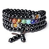 Bracelet Multi-Tours/Collier Mala 108 Perles Bouddhistes 7 Chakra Sept Pierres Naturelles Différentes 6mm Onyx Noir Unisexe