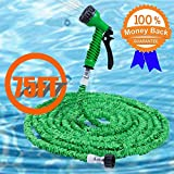 XIAOWANG Garden hose,75FT Deluxe Latex Triple Layer Flexible Expandable Magic Garden Water Hose With 7 Functions Spray Nozzle& Aluminium Fittings (Green)