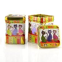 """Lot de 2 boîtes à thé de 100g Motif Chats """"Evi"""" Boîte de conservation Boîte à café thé"""