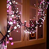 Luce Stringa 400 LED, Catene Luminose 3 Metri Impermeabile IP65 di Led Luci Stringa Illuminazione Interno/Esterno per Festa Nozze Compleanno Natale rosa e bianco