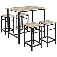 SoBuy OGT11-N,ES Juego de 5 Piezas Comedor Mesa,Set de 4 Taburetes y 1 Mesa (4 sillas)