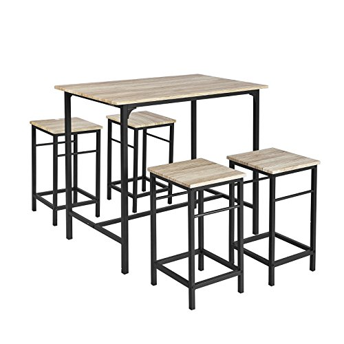 SoBuy OGT11-N Set de 1 Table + 4 Tabourets Ensemble table de bar bistrot + 4 tabourets avec repose-pieds Table Mange-debout Table haute cuisine