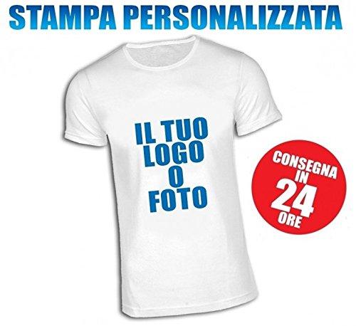 T-shirt maglietta personalizzata unisex 100% poliestere manica corta colore bianco stampa anteriore taglia l