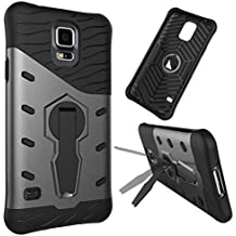 Funda Para Samsung Galaxy S5 Case Tough Híbrido Heavy Duty Shock Proof Defender Cover Doble capa de armadura Combo con 360 ° giratorio Stand caso de la cubierta de protección ( Color : Black )
