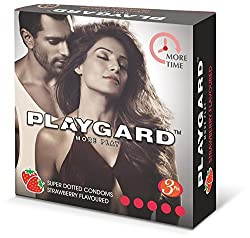 Playgard More Time Superdotted Condoms - 3 Count (Pack of 10, Strawberry)
