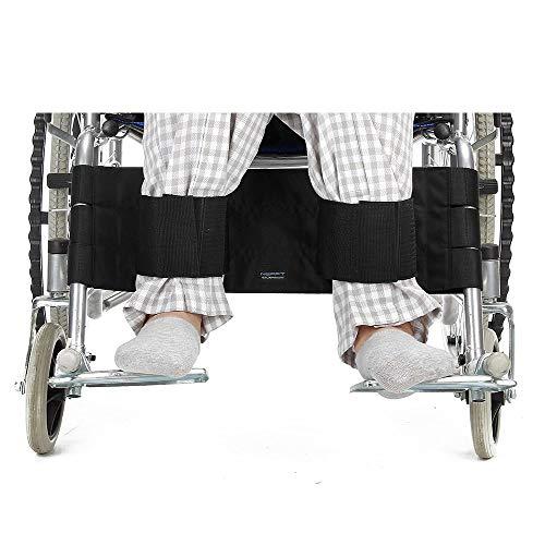 Rollstuhl-unterstützung (Rollstuhl Fußstütze Bein Gurt Sicherheitsgurt verstellbar Sicherheit Fuß Unterstützung Zurückhaltung für Behinderte Patienten, ältere & Senioren (Schwarz))