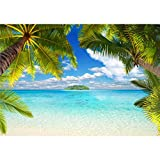decomonkey Fototapete selbstklebend Strand 392x280 cm XL Selbstklebende Tapeten Wand Fototapeten Tapete Wandtapete klebend Klebefolie Insel Meer Palmen Sonne Natur Landschaft