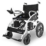 RDJM Electric Wheelchair Foldable Lightweight Electric Power Wheelchairs (Black)