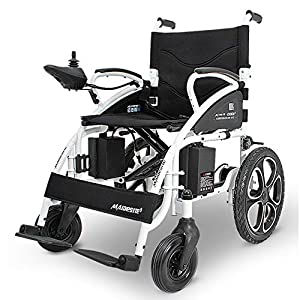 RDJM Electric Wheelchair Foldable Lightweight Electric Power Wheelchairs (Black)